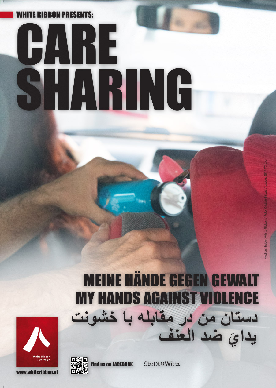 Plakat: Care Sharing | White Ribbon Österreich