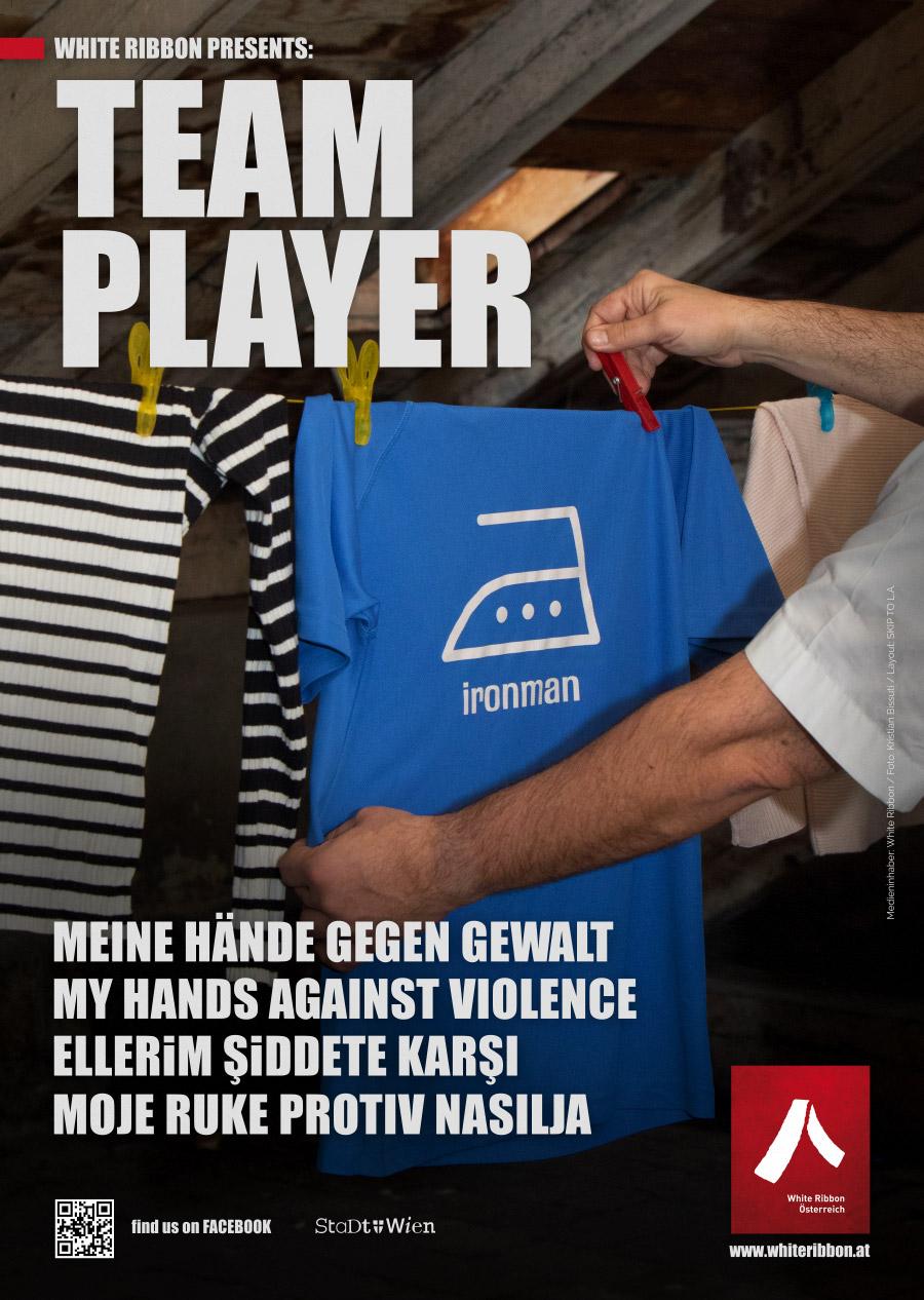 Plakat: Team Player | White Ribbon Österreich